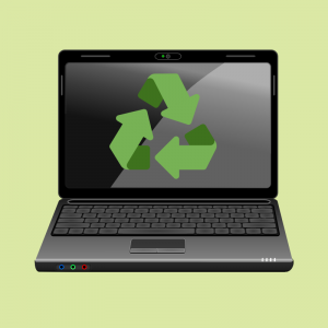 "GRAPHIC: Laptop with the green ""Recycle"" arrow logo on the screen"