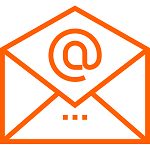 "GRAPHIC: Orange email envelope with ""@"" sign"