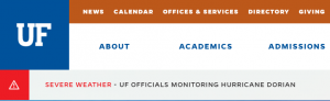 SCREEN CAPTURE: Red 'Severe Weather' Banner on UF Homepage