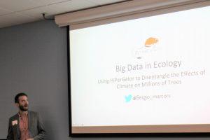 PHOTO: Ph.D. candidate Sergio Marconi presenting at the 2019 HiPerGator Symposium.