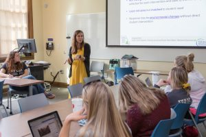 PHOTO: Oct. 2019 - Instructor teaching in renovated Norman Hall classroom