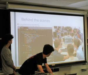 PHOTO: Students Presenting Their Final Project (A Video Game) at the 2019 Gator Computing Program Closing Day Event.