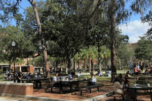 PHOTO: Students congregating on UF Plaza of the Americas