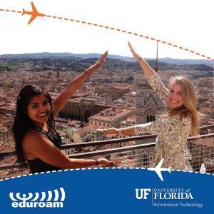 2019 Eduroam Poster Image Featuring Two female UF undergraduates in Rome