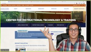 SCREEN CAPTURE: Educational technologist Chris Sharpe in front of a screen showing the CITT website
