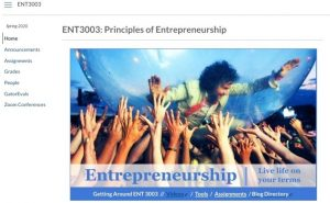 SCREEN CAPTURE: ENT3003 Homepage in UF e-Learning