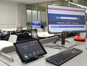 PHOTO: Newly installed HyFlex-enabled technologies in Wertheim College of Engineering classroom