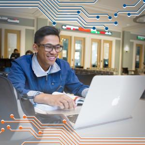 PHOTO: Undergraduate student working on laptop
