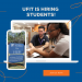 PHOTO with GRAPHIC OVERLAY: Full-time and student worker at the UF Computing Help Desk, 132 Hub