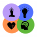 GRAPHIC: Four colored circles with icons showing different wellness services offered online