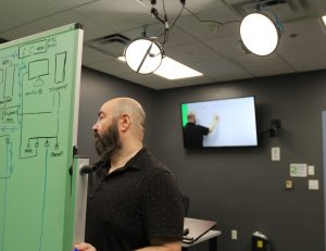 PHOTO: Instructor using the whiteboard in the On-Demand Video Studio