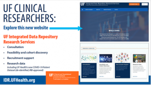 SCREEN CAPTURE: Updated UF Health's Integrated Data Repository website, with a list of highlights to be found due to the site upgrade