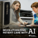 """GRAPHIC: """"Revolutionizing Patient Care with AI"""" Photos of HiPerGator and a medical practitioner checking a patient's pulse"""