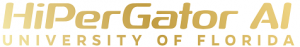 GRAPHIC: Golden shimmery version of HiPerGatorAI wordmark