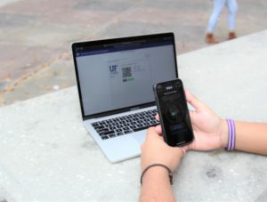 PHOTO: A student connecting their phone to their Duo MFA profile