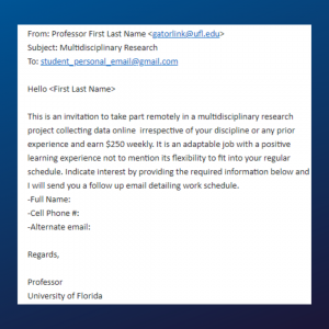 SCREENGRAB: An example of a fake email claiming to be from a UF professor
