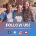"""PHOTO: Three UF students with text that says """"FOLLOW US!"""" and UFIT's four social media handles listed"""