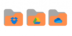 GRAPHIC: Three orange file folders, each with a UF GatorCloud service icon on them.